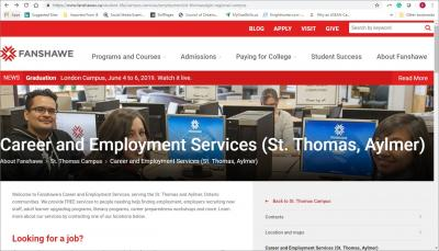 Career and Employment Services Fanshawe - St. Thomas Website image
