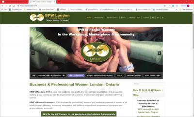 Business and Professional Women London Website image