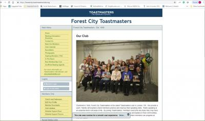 Forest City Toastmasters Website image
