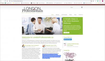 London Professionals Networking Group Website image